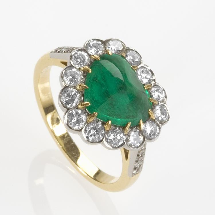 French Mid 20th Century Emerald and Diamond Ring