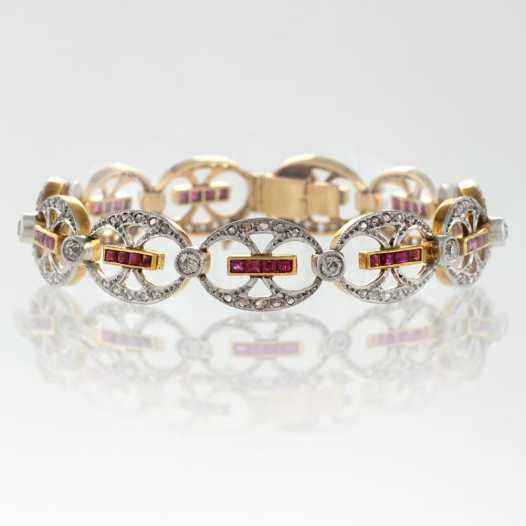 European Edwardian Diamond, Ruby, Platinum and Gold Bracelet