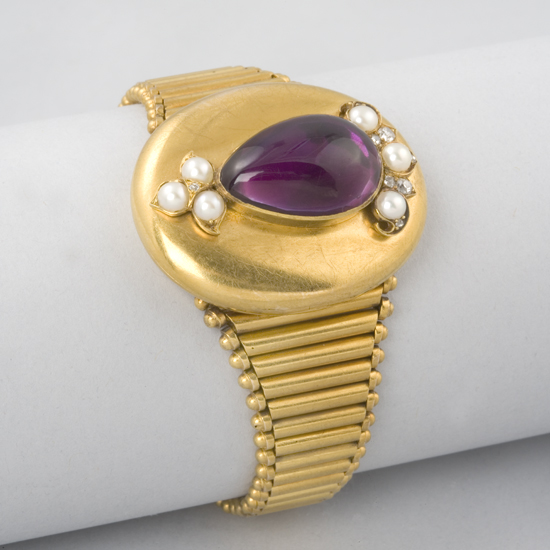 Victorian Amethyst, Pearl and Gold Bracelet
