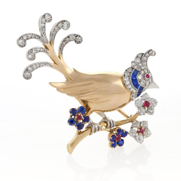 A Mauboussin Paris Gold, Diamond, Ruby and Sapphire Bird Brooch