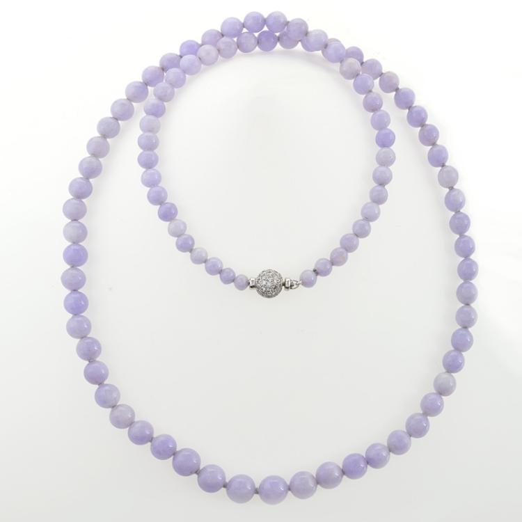 Natural Lavender Jade, Diamond and Gold Bead Necklace