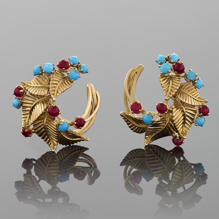 Marchak Paris Mid-Century Ruby and Turquoise Earrings