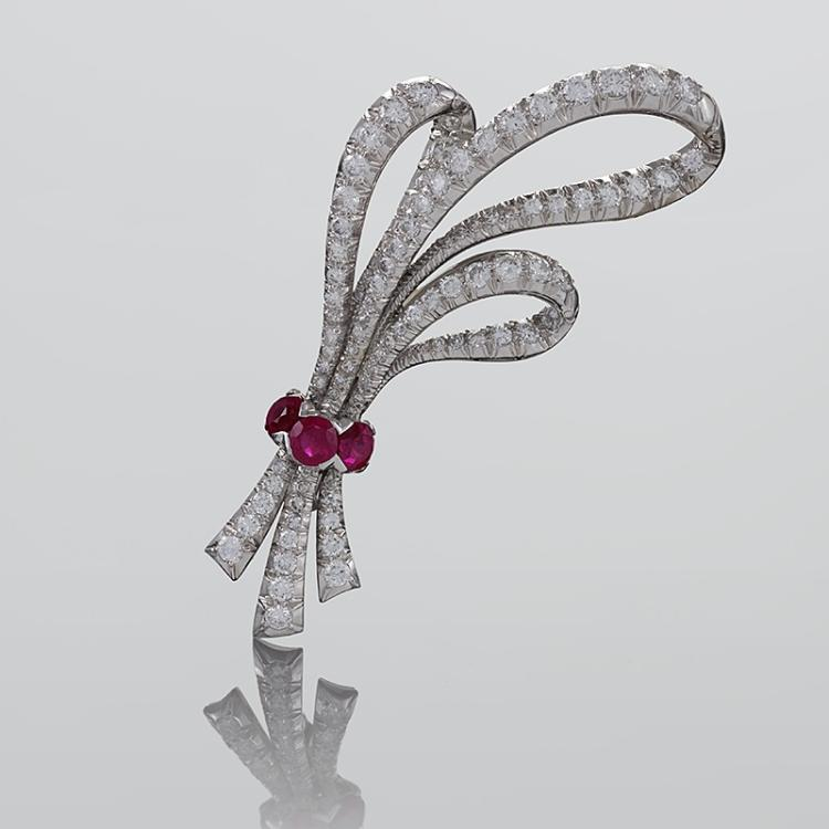 Mid-Century Diamond, Ruby and Platinum Ribbon Brooch