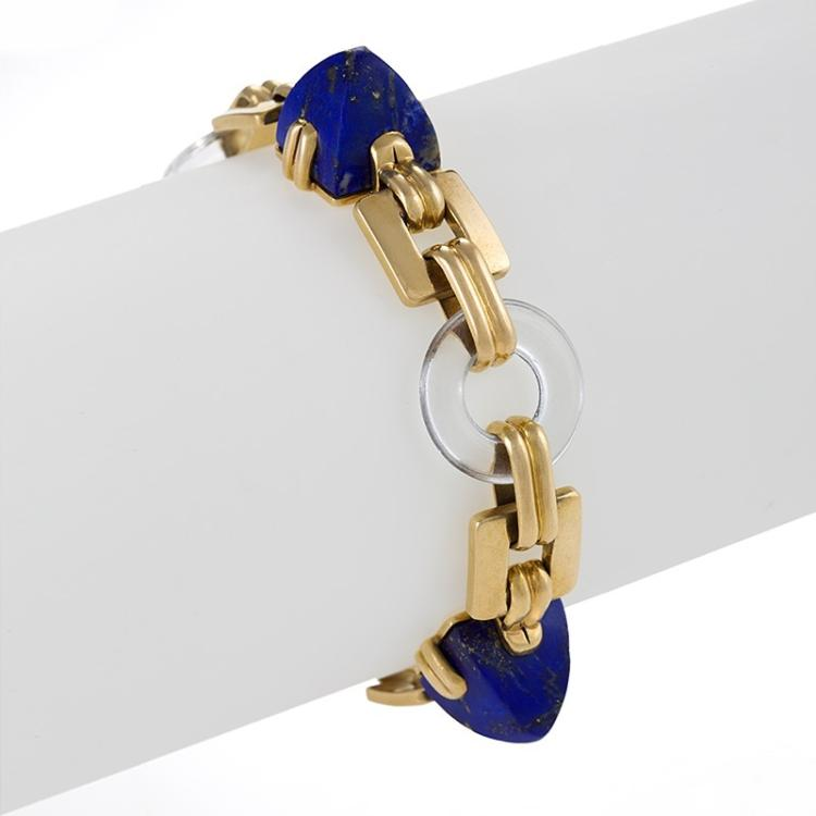 Mid-20th Century Lapis Lazuli, Rock Crystal and Gold  Bracelet