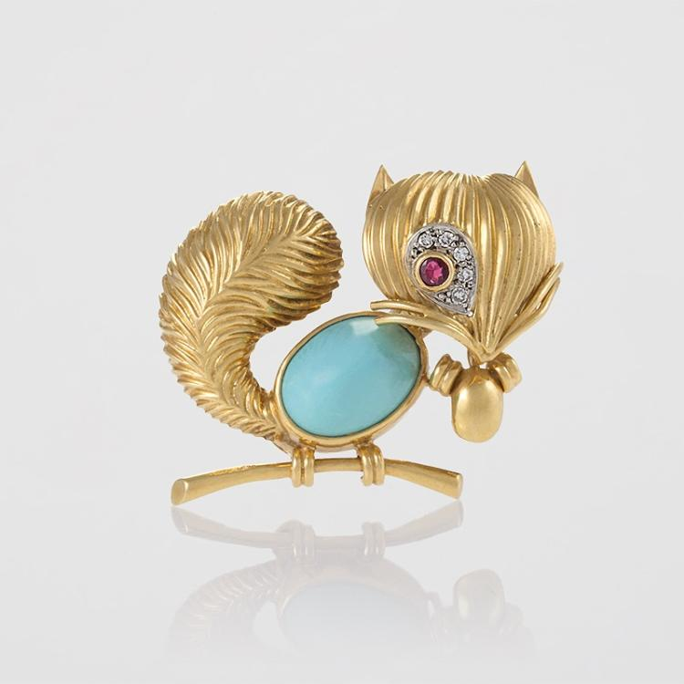 Van Cleef & Arpels Mid-20th Century Turquoise, Ruby, Diamond and Gold Squirrel Brooch