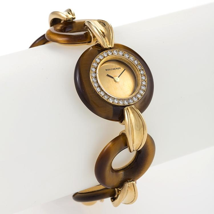 Tiger Eye and Gold Wrist Watch by Boucheron