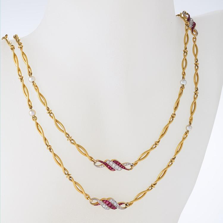 French Art Nouveau Diamond, Ruby, Pearl, Platinum and Gold Long Chain