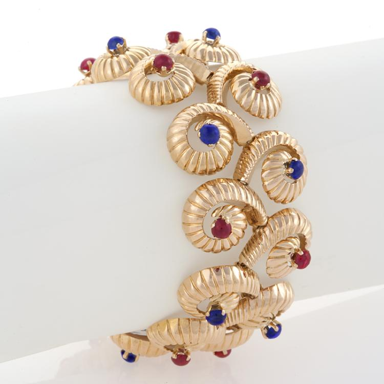 Cabochon Ruby and Sapphire Swirl Gold Bracelet
