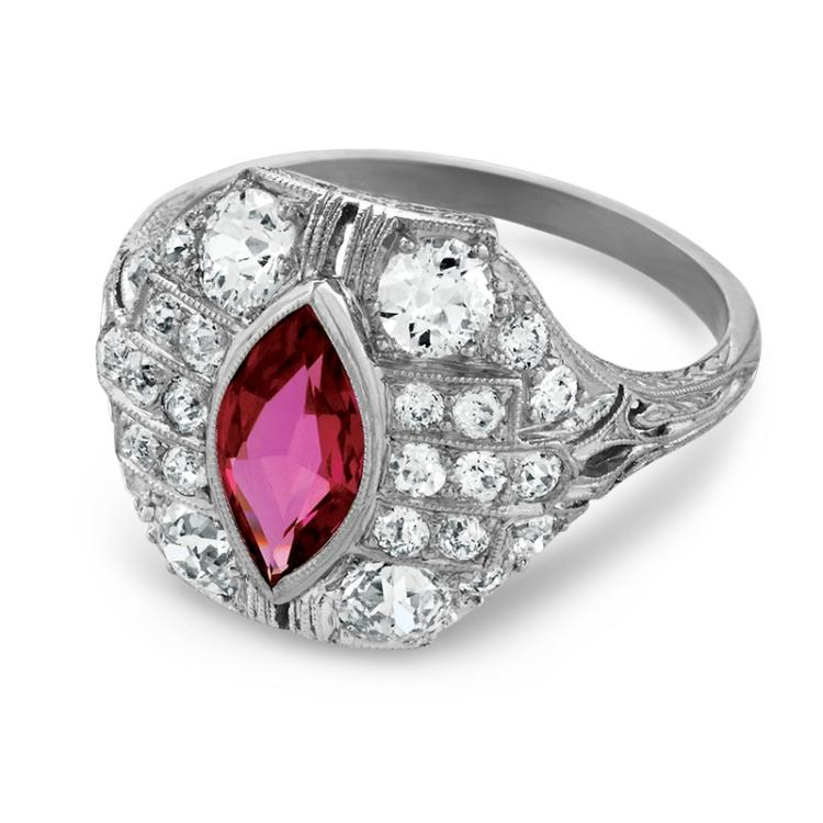 Art Deco Ruby, Diamond and Platinum Ring