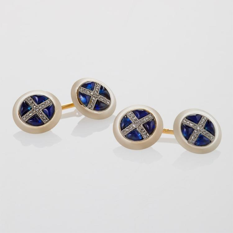 French Art Deco Diamond, Sapphire, Rock Crystal, Platinum and Gold Cuff Links