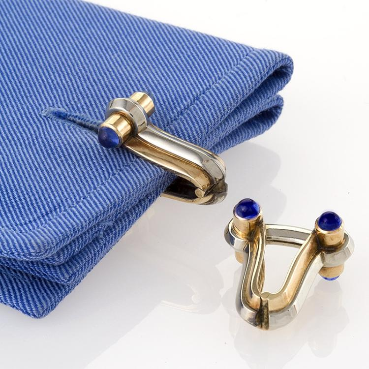 Mid 20th Century Platinum, Gold and Blue Sapphire Cuff Links