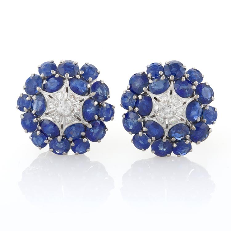 Mid 20th Century Blue Sapphire and Diamond Earrings