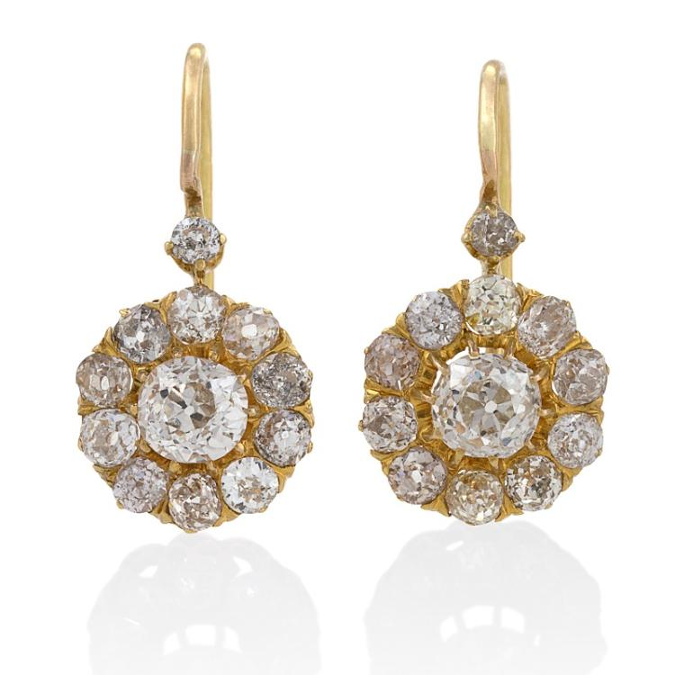 Antique Old Mine-Cut Diamond Cluster Earrings