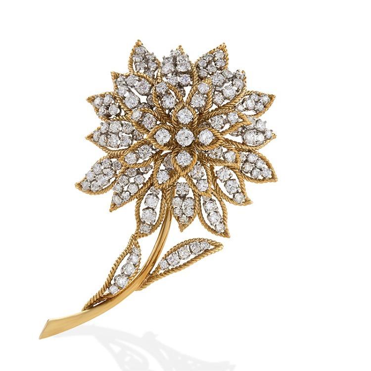 Mid-20th Century Diamond, Gold and Platinum Flower Brooch
