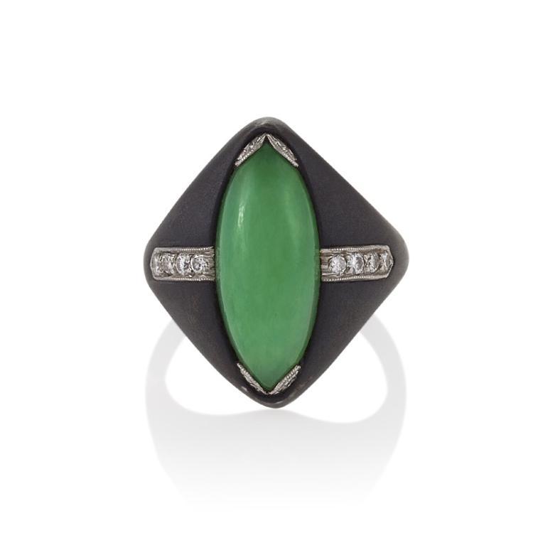 Marsh & Co. Mid-20th Century Jadeite Jade, Diamond, Steel and Platinum Ring