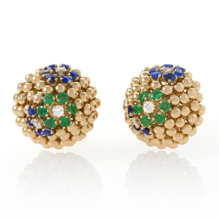 Van Cleef & Arpels Mid-Century Jeweled Gold Earrings