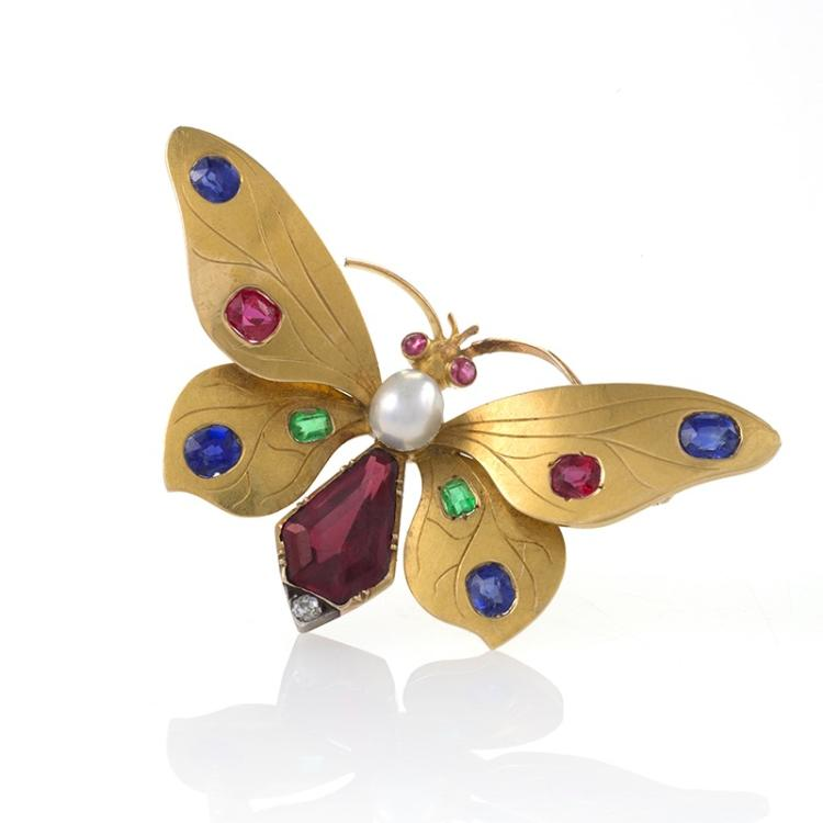 Austrian Art Nouveau Jeweled Butterfly Brooch