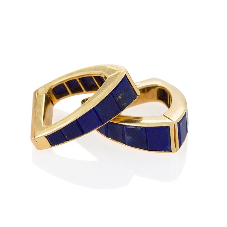 Jean Ferrière French Mid-20th Century Lapiz Lazuli and Gold Stirrup Cuff Links