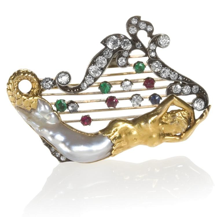Victorian Silver-Topped Gold, Diamond, Emerald, Ruby and Baroque Pearl Brooch