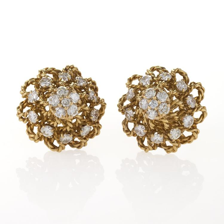 Marianne Ostier Mid-20th Century Diamond and Gold Earrings