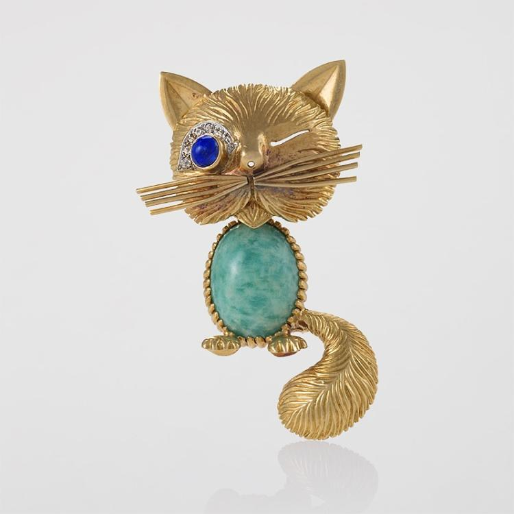 Van Cleef & Arpels Paris Turquoise, Diamond, Blue Sapphire and Gold Cat Brooch