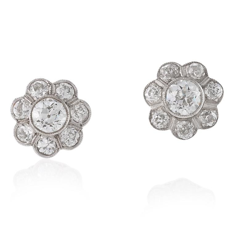 Art Deco Diamond and Platinum Cluster Earrings