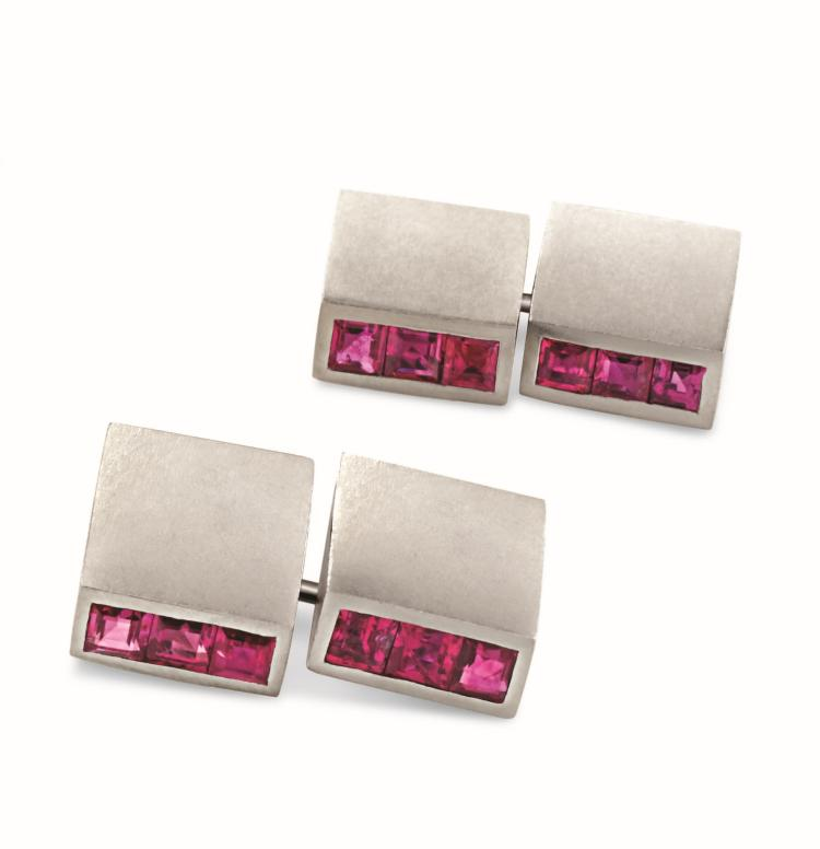 Art Deco Ruby and Platinum Cuff Links