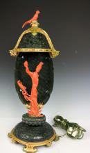 Edward Farmer Style Coral & Green Jade Guan Yin Lamp