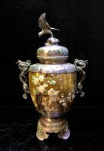 A Japanese Vase With Silver & shell