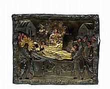 Belle icône  représentant la Dormition de la Vierg