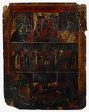 Icône décorée de 7 scènes peintes,  dont sur le pr
