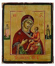 Icône  représentant la Vierge de Tikhvine.  Temper