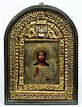Belle icône représentant le Christ Pantocrator.  O
