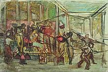 AXELROD Meir (1902-1970). Scène de guerriers. Huil