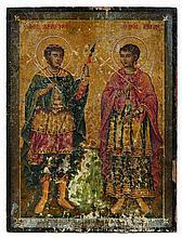 Icône  représentant les saints martyrs Dimitri et