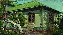 VASSILOFF Boris (1901-2000). Vue d'une datcha. Hui