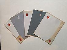 Famille CHEREMETIEFF.  Lot de 5 papiers à lettres