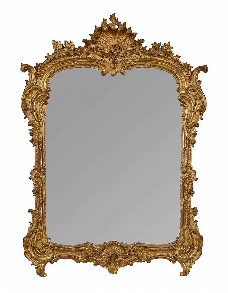 Miroir en bois dor d cor de coquilles feuillages agrafe for Miroir hauteur 200