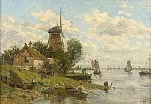 Edmond Marie PETITJEAN (1844-1925)  Port de Hollande Huile sur toile, signée en bas à droite . 45 x 63 cm  Rentoilée.
