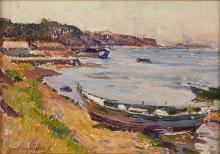 Jean AUBERY (1880-1952) Barque en bord de côte.