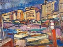 Antoine FERRARI (1910-1995) Le quai du port à Marseille. 1957.