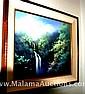 Waterfall painting by G Eguchi Hawaiian landscape art