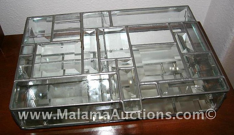 12x8x2.5 handmade leaded glass/mirror keepsake box