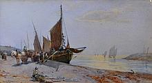 WILLIAM CARLAW (1847-1889) Unloading the catch,