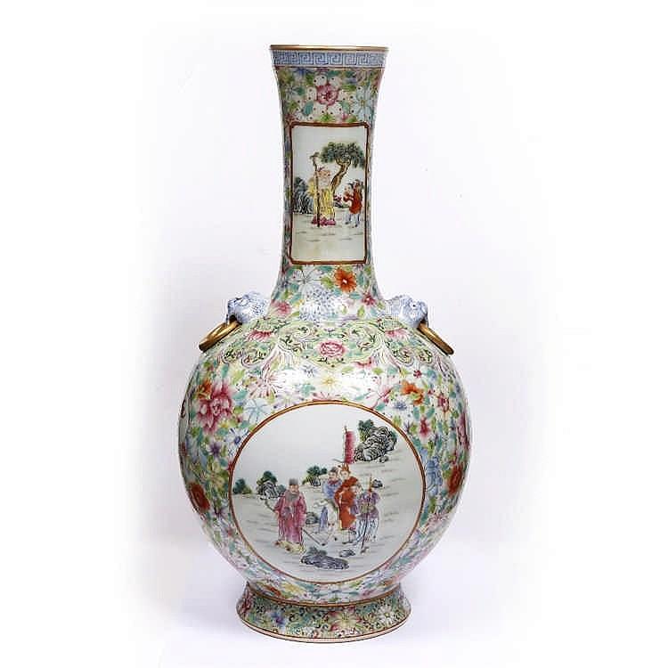 a chinese thousand mille fleur baluster vase. Black Bedroom Furniture Sets. Home Design Ideas