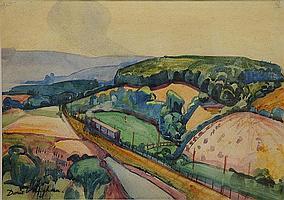 Doris Vaughan (British, 1894-1974) Train through a