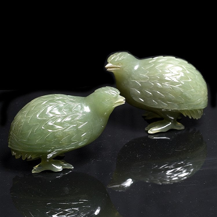 A pair of Chinese green hardstone model quails