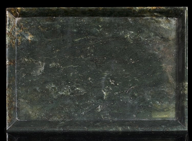 A Chinese spinach jade rectangular tray