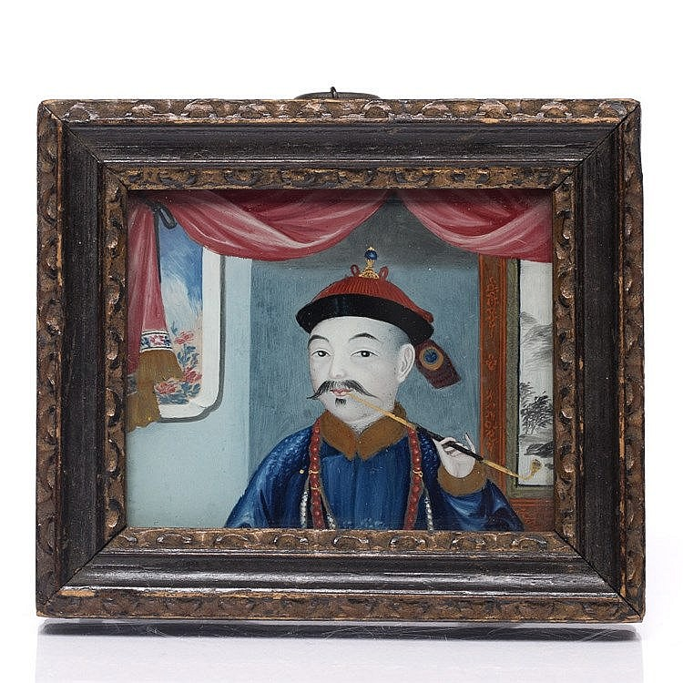 A Chinese miniature reverse glass painting