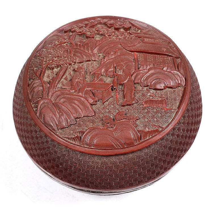 A Chinese cinnabar lacquer bowl and cover